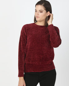 New Look Chenille Slouchy Jumper Burgundy