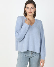 New Look V-Neck Fluffy Jumper Pale Blue
