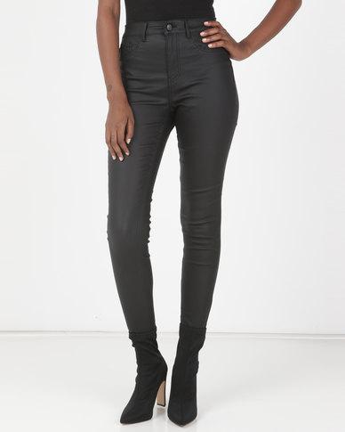 New Look Coated High Waist Super Skinny Hallie Jeans Black