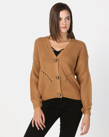 New Look Chunky Pointelle Knit Cardigan Camel