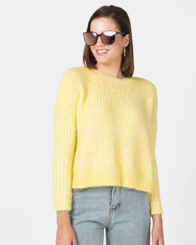 New Look Fluffy Ribbed Dropped Shoulder Jumper Yellow