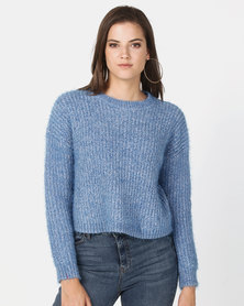 New Look Fluffy Chenille Jumper Blue
