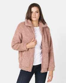 New Look Faux Teddy Fur Bomber Jacket Pink