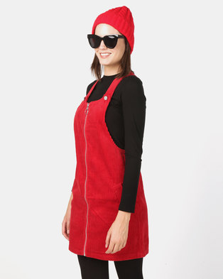 New Look Corduroy Zip Through Pinafore Dress Red