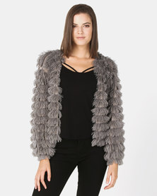 New Look Fine Knit Tiered Fluffy Cardigan Dark Grey