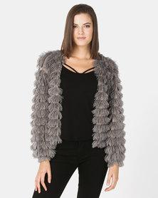 New Look Fine Knit Tiered Fluffy Cardigan Dark Grey