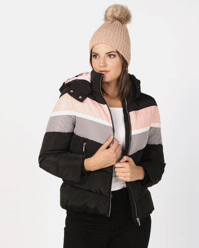 New Look Colour Block Puffer Jacket Black