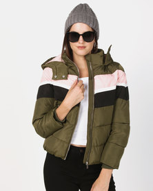 New Look Colour Block Puffer Jacket Khaki