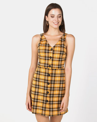 New Look Check Button Through Pinafore Dress Yellow