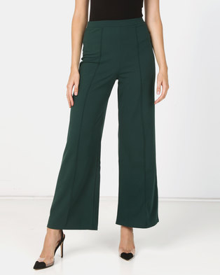 c7c2340bdbd6f New Look Pintuck Wide Leg Party Trousers Dark Green