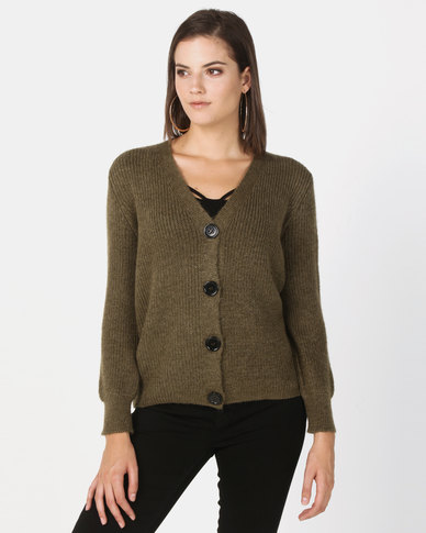 New Look Rib Knit Button Through Cardigan Khaki