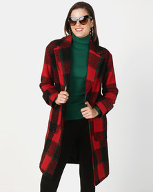 New Look Check Longline Coat Red