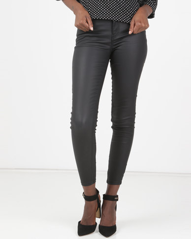 New Look Coated High Rise Skinny 'Lift & Shape' Jeans Black
