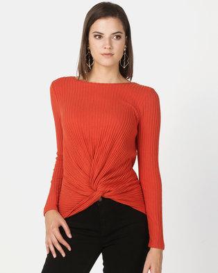 New Look Brushed Rib Twist Front Top Orange