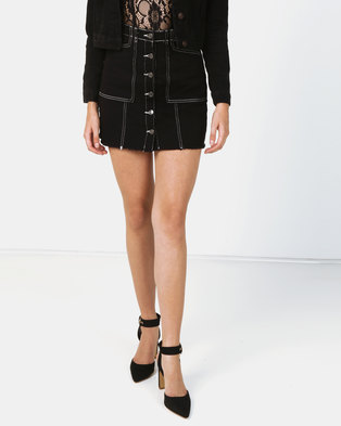 New Look Contrast Stitch Button Front Denim Skirt Black