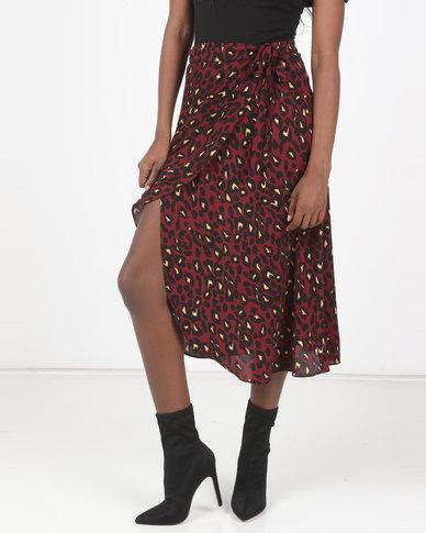 New Look Leopard Print Mid Wrap Skirt Burgundy