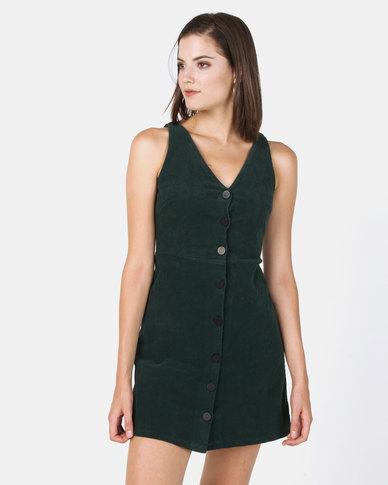 New Look Corduroy Button Front Dress Dark Green