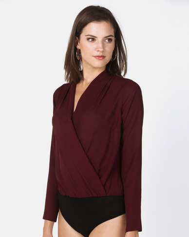 New Look Long Sleeve Wrap Bodysuit Burgundy