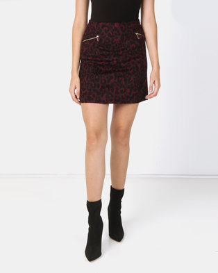 New Look Leopard Print Brushed Mini Skirt Burgundy