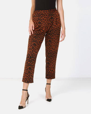 New Look Leopard Print Pull-On Trousers Brown