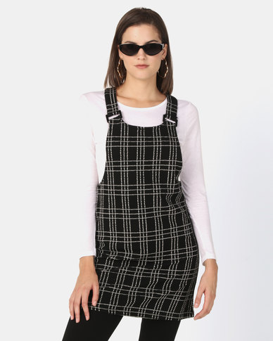 New Look Check Square Buckle Pinafore Dress Black