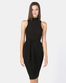 New Look Ribbed Tie Front Sleeveless Dress Black