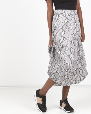 New Look Satin Snake Print Pleated Skirt Light Grey