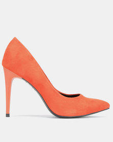 New Look Yummy Suedette Pointed Court Shoes Burnt Orange