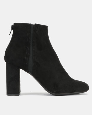 New Look T Bloomed Suedette Block Heel Ankle Boots Black