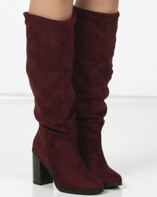 New Look Bowling Slouch Block Heel Knee High Boots Dark Red