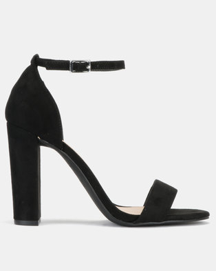 New Look Wide Fit Tarona Suedette Ankle Strap Block Heels Black
