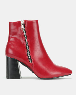 New Look Ani Wide Fit Pointed Flared Heel Boots Red