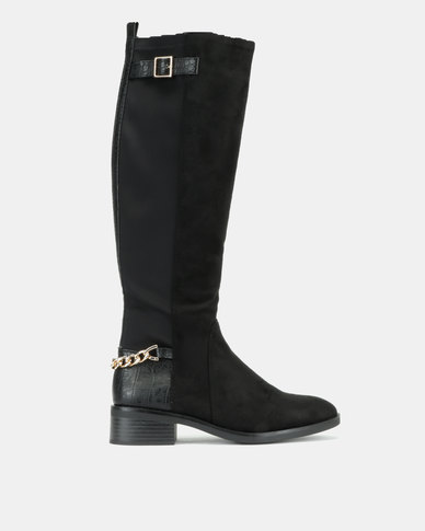 New Look Bandeau Suedette Chain Strap Knee High Boots Black