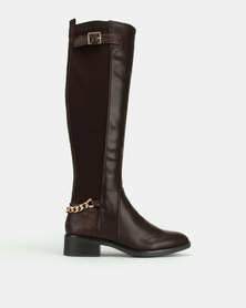New Look Bandeau Suedette Chain Strap Knee High Boots Mid Brown