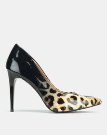 New Look Sombray Ombre Leopard Print Courts Black Patent