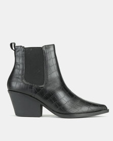 New Look Brooke Faux Croc Western Chelsea Boots Black