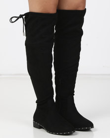 New Look Wide Fit Budded Stud Trim Over The Knee Boots Black