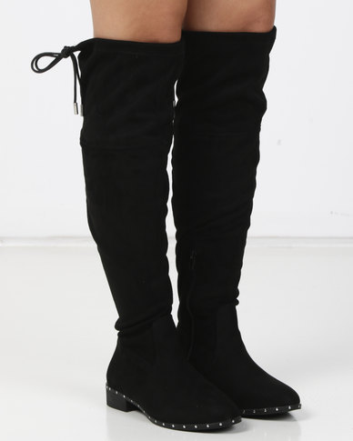 6aeed632aafb New Look Wide Fit Budded Stud Trim Over The Knee Boots Black