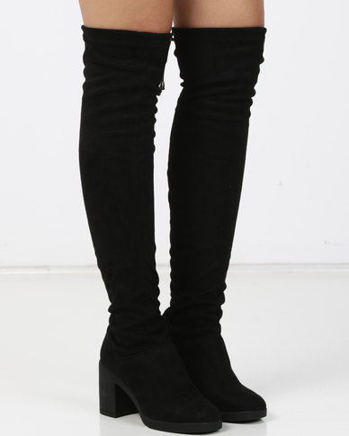 New Look Blink Suedette Square Toe Over The Knee Boots Black