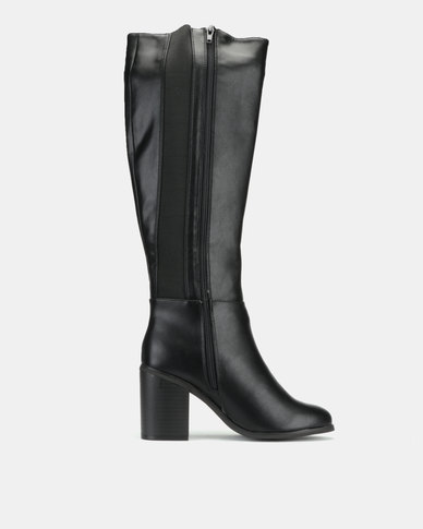 choose newest super cheap compares to choose original New Look Dapper Wide Fit Leather-Look Heeled Knee High Boots Black