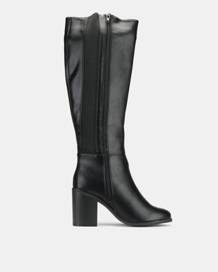 New Look Dapper Wide Fit Leather-Look Heeled Knee High Boots Black