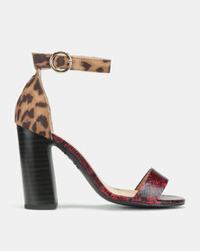 New Look Paggle Faux Snake And Leopard Block Heels Red