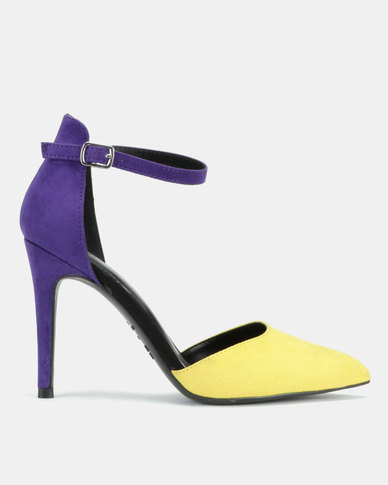 New Look Simple Two Part Stiletto Court Heels Purple/Yellow