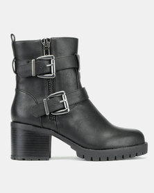 New Look Bertie Wide Fit Buckle Strap Biker Boots Black