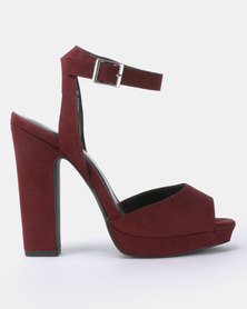 New Look T Sozzle Suedette Square Peep Toe Platform Sandals Dark Red