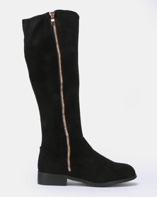 New Look Wide Fit Brum Zip Side Knee High Flat Boots Black