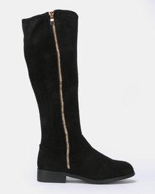 New Look Wide Fit Brum Zip Side Knee High Flat Boots Black