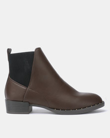 New Look Doug Studded Rim Chelsea Boots Mid Brown