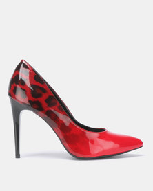 New Look Sombray Leopard Print Fade Heels Red