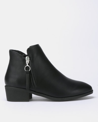 New Look Abbi Leather-look Zip Detail Low Ankle Boots Black